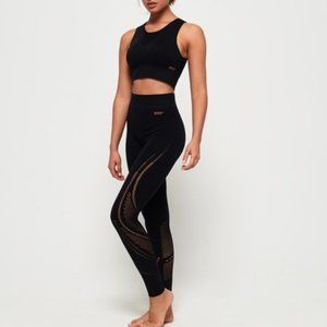 SUPERDRY | Black Seamless Cut Out Legging  Size 10